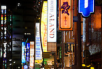 Neon signs hang from the exterior of the plethora of love hotels in the Kabukicho entertainment district of central Tokyo, Japan on Sunday 19 April  2009. .Photographer: Robert Gilhooly