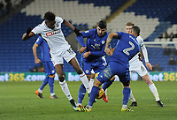 Bolton Wanderers' Sammy Ameobi vies for possession with Cardiff City's Callum Paterson and Lee Peltier<br /> <br /> Photographer Kevin Barnes/CameraSport<br /> <br /> The EFL Sky Bet Championship - Cardiff City v Bolton Wanderers - Tuesday 13th February 2018 - Cardiff City Stadium - Cardiff<br /> <br /> World Copyright &copy; 2018 CameraSport. All rights reserved. 43 Linden Ave. Countesthorpe. Leicester. England. LE8 5PG - Tel: +44 (0) 116 277 4147 - admin@camerasport.com - www.camerasport.com