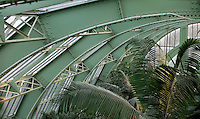 Interior of the Tropical Rainforest Glasshouse (formerly Le Jardin d'Hiver or Winter Gardens), 1936, René Berger, Jardin des Plantes, Museum National d'Histoire Naturelle, Paris, France. Detail showing the metal structure of the roof of the Art Deco style glasshouse with luxuriant tropical foliage.