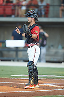 South Division catcher Max McDowell (4) of the Carolina Mudcats during the 2018 Carolina League All-Star Classic at Five County Stadium on June 19, 2018 in Zebulon, North Carolina. The South All-Stars defeated the North All-Stars 7-6.  (Brian Westerholt/Four Seam Images)