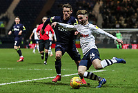 Preston North End's Sean Maguire competing with Derby County's Craig Bryson  <br /> <br /> Photographer Andrew Kearns/CameraSport<br /> <br /> The EFL Sky Bet Championship - Preston North End v Derby County - Friday 1st February 2019 - Deepdale Stadium - Preston<br /> <br /> World Copyright © 2019 CameraSport. All rights reserved. 43 Linden Ave. Countesthorpe. Leicester. England. LE8 5PG - Tel: +44 (0) 116 277 4147 - admin@camerasport.com - www.camerasport.com