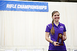 COLUMBUS, OH - MARCH 11: Rachel Garner of Texas Christian University stands with her individual third place trophy during the Division I Rifle Championships held at The French Field House on the Ohio State University campus on March 11, 2017 in Columbus, Ohio. (Photo by Jay LaPrete/NCAA Photos via Getty Images)