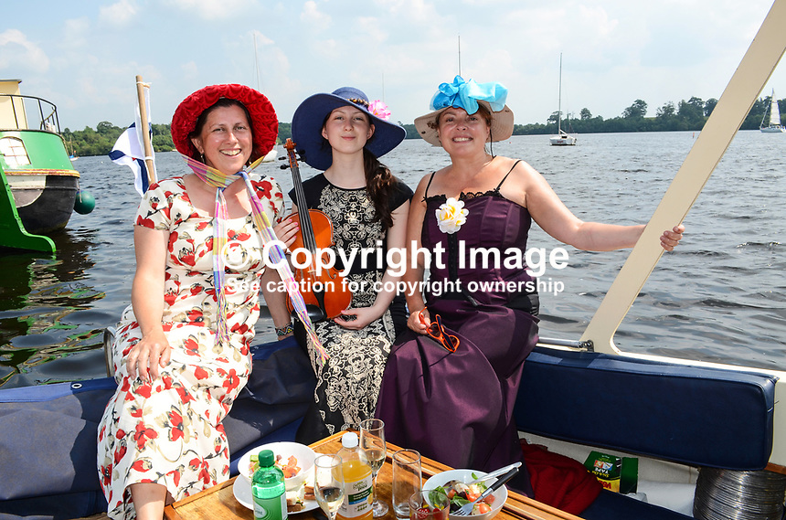 Georgian Day, Lough Erne Yacht Club, Killadeas, Co Fermanagh, N Ireland, UK, 20th July 2013. Left to right: Teresa O'Hare, mother, Maeve O'Hare, daughter, Ann McCarthy, 201307202721.   <br /> <br /> Copyright Image from Victor Patterson, 54 Dorchester Park, Belfast, UK, BT9 6RJ<br /> <br /> Tel: +44 28 9066 1296<br /> Mob: +44 7802 353836<br /> Voicemail +44 20 8816 7153<br /> Skype: victorpattersonbelfast<br /> Email: victorpatterson@me.com<br /> Email: victorpatterson@ireland.com (back-up)<br /> <br /> IMPORTANT: If you wish to use this image or any other of my images please go to www.victorpatterson.com and click on the Terms &amp; Conditions. Then contact me by email or phone with the reference number(s) of the image(s) concerned.