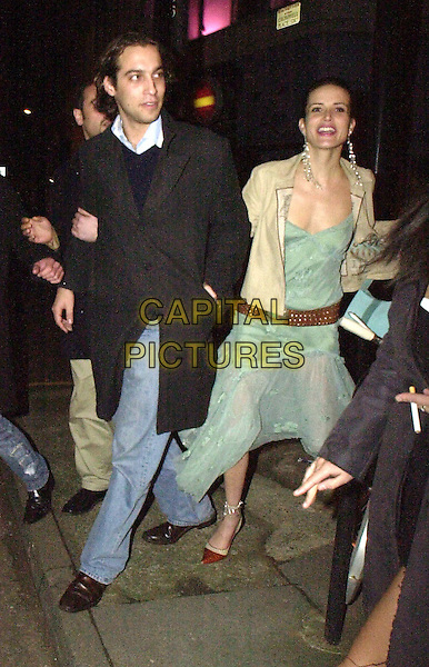 SOPHIE ANDERTON.leaving nightclub.8 February 2004.full length, full-length, long floaty green dress, brown leather belt.www.capitalpictures.com.sales@capitalpictures.com.©Capital Pictures.