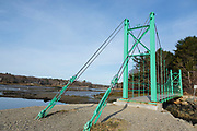 Wiggly Bridge in York, Maine USA during the spring months. This small foot bridge was built in the 1930s and wiggles while you walk across it.