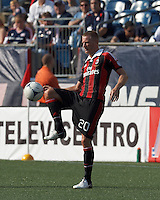 AC Milan defender Ignazio Abate (20) volley pass. In an international friendly, AC Milan defeated C.D. Olimpia, 3-1, at Gillette Stadium on August 4, 2012.