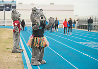 NWA Democrat-Gazette/BEN GOFF @NWABENGOFF<br /> The Springdale High mascots support runners and walkers Saturday, April 21, 2018, during the Northwest Arkansas Kiwanis Clubs Fun Walk benefiting Arkansas Children's Northwest at the track at Springdale Har-Ber High. Thirteen Kiwanis clubs from Benton, Washington and Madison counties joined forces for the annual fundraiser.