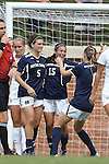 28 September 2014: Notre Dame's Karin Simonian (15) celebrates her goal with Cari Roccaro (5) and Anna Maria Gilbertson (right). The Wake Forest University Demon Deacons hosted the Notre Dame University Fighting Irish at W. Dennie Spry Soccer Stadium in Winston-Salem, North Carolina in a 2014 NCAA Division I Women's Soccer match.