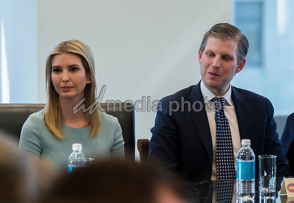 Ivanka Trump and Eric Trump are seen at a meeting of technology leaders in the Trump Organization conference room at Trump Tower in New York, NY, USA on December 14, 2016. Photo Credit: Albin Lohr-Jones/CNP/AdMedia