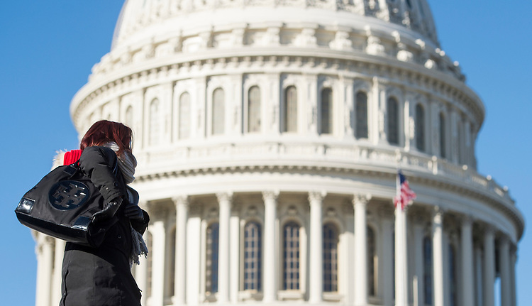 UNITED STATES - JANUARY 7: A bundled-up tourist walks along the East Plaza of the Capitol in Washington as a deep freeze envelopes the region on Tuesday, Jan. 7, 2014. (Photo By Bill Clark/CQ Roll Call)