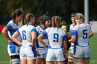 20190928 - Neder Over Hembeek, BELGIUM :  AAC Amsterdam's players are pictured having a huddle after the try of Dendermonde at the female rugby match between the Dendermonde RC Women  and AAC Amsterdam Rugby Women, this is the final of the BeNeCup  on Saturday 28th September 2019 at the Nelson Mandela Stadium , Belgium. PHOTO SPORTPIX.BE | SEVIL OKTEM