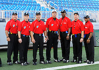 Oct. 8, 2009; Las Vegas, NV, USA; UFL refereees pose for a photo prior to the game between the California Redwoods against the Las Vegas Locomotives in the inaugural United Football League game at Sam Boyd Stadium. Las Vegas defeated California 30-17. Mandatory Credit: Mark J. Rebilas-