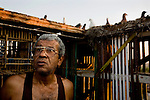 Now that he's retired, Saber Saad spends most of his time with his 20 pairs of pigeons that he keeps in his rooftop aviary in Tora neighborhood, Cairo, Egypt, Aug. 5, 2009. He has been training pigeons for 25 years and finds it relaxing. Like most people in the neighborhood, Saad's family has been living in the same house for generations.