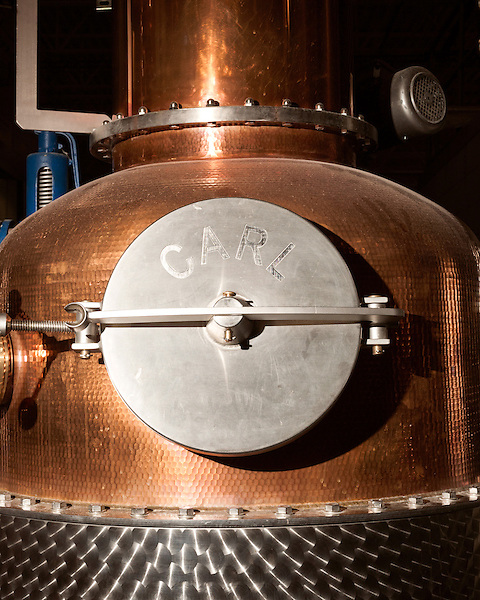 June 18, 2013. Chapel Hill, North Carolina<br />  The entire TOPO Distillery system, including this kettle still, is made by CARL Distilleries and is estimate to have cost over 1 million dollars.<br />  TOPO, Top of the Hill Distillery, the brainchild of owner Scott Maitland and Spirit Guide Esteban McMahan, is located in the old N&amp;O Building on Franklin Street. Making gin, vodka and American whiskey from locally sourced wheat, they are one of the few distilleries bringing  organic liquor to ABC shelves around the state.
