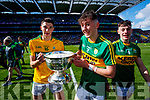 Nelu O'Doherty, Sean O'Leary and Cian Gammell Kerry Minors celebrate with the Tom Markham Cup after defeating Derry in the All-Ireland Minor Footballl Final in Croke Park on Sunday.