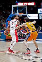 VALENCIA, SPAIN - 05/12/2014. Williams del Estrella Roja y Vives del Valencia Basket durante el partido. Pabellon Fuente de San Luis, Valencia, Spain.