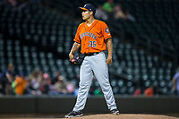 Buies Creek Astros relief pitcher Sebastian Kessay (35) looks to his catcher for the sign against the Winston-Salem Dash at BB&T Ballpark on April 15, 2017 in Winston-Salem, North Carolina.  The Astros defeated the Dash 13-6.  (Brian Westerholt/Four Seam Images)