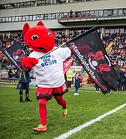 Orient Mascot 'Theo the Wyvern' runs out onto the pitch ahead of the Sky Bet League 2 match between Leyton Orient and Wycombe Wanderers at the Matchroom Stadium, London, England on 1 April 2017. Photo by Andy Rowland.
