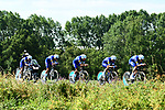 Quick-Step Floors in action during Stage 3 of the 2018 Tour de France a Team Time Trial running 35.5km from Cholet to Cholet (35,5km, France. 9th July 2018. <br /> Picture: ASO/Alex Broadway | Cyclefile<br /> All photos usage must carry mandatory copyright credit (&copy; Cyclefile | ASO/Alex Broadway)