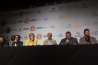 SAO PAULO, SP, 02 JUNHO 2013 - ENTREVISTA COLETIVA -PARADA DO ORGULHO GLBT - A ministra da Cultura, Marta Suplicy,  deputado federal Jean Willys, o prefeito Fernando Haddad, o coordenador da parada gay, Fernando Quaresma e o governador Geraldo Alckmin durante a entrevista coletiva da 17 Parada do Orgulho LGBT no teatro Raul Cortez, na manhã  deste domingo, 02. (FOTO: ADRIANA SPACA / BRAZIL PHOTO PRESS).