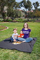 Professor Carmel Levitan and her children, photographed for Oxy Wear, April 20, 2015. ** composite ** (Photo by Marc Campos, Occidental College Photographer)