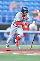 Lakewood BlueClaws Luis Garcia (3) runs to first base during a game against the Asheville Tourists at McCormick Field on June 13, 2019 in Asheville, North Carolina. The BlueClaws defeated the Tourists 4-3. (Tony Farlow/Four Seam Images)