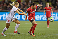 Portland, Oregon - Sunday September 11, 2016: Portland Thorns FC forward Christine Sinclair (12) and Western New York Flash defender Abigail Dahlkemper (13) during a regular season National Women's Soccer League (NWSL) match at Providence Park.