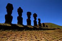 Moai Statues at Ahu Nau Nau Platform in Easter Island during Tapati Festival Rapa Nu
