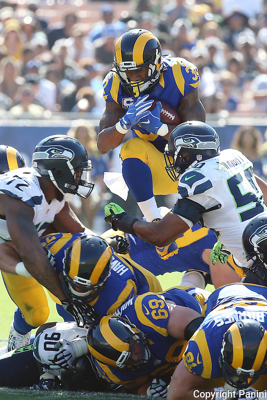 NFL football game between the Seattle Seahawks and the Los Angeles Rams, Sunday, Sept. 18, 2016, in Los Angeles, Calif. (Photo by Michael Zito/Panini)