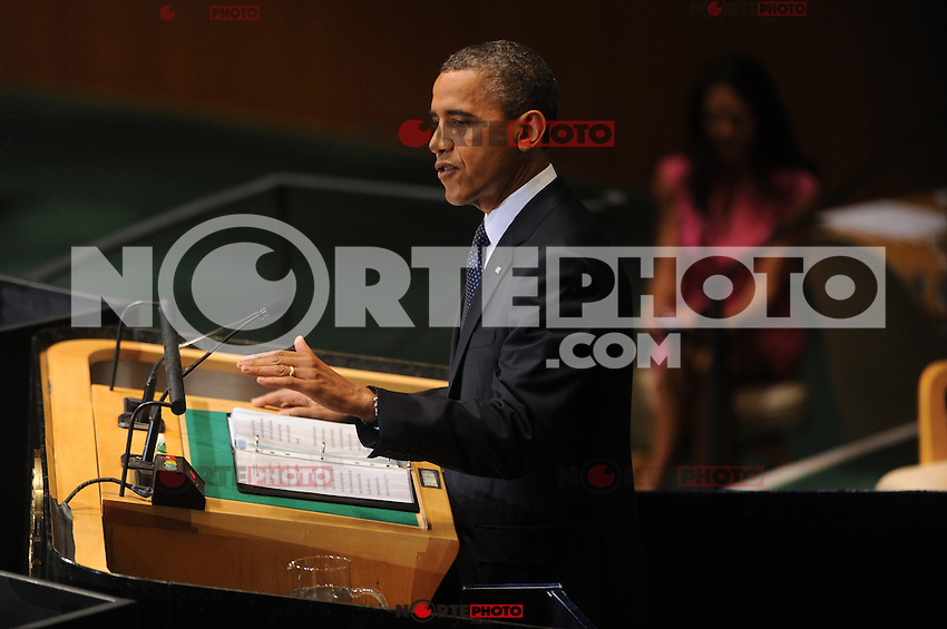 NEW YORK, NY - SEPTEMBER 25: US President Barack Obama addresses the 67th UN General Assembly at the United Nations headquarters in New York, September 25, 2012. © mpi01/MediaPunch Inc.