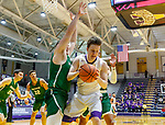 University at Albany men's basketball defeats Binghamton University 71-54  at the  SEFCU Arena, Feb. 27, 2018.  UAlbany's Matt Conway defended by Binghamton's Bobby Ahearn. (Bruce Dudek / Cal Sport Media/Eclipse Sportswire)