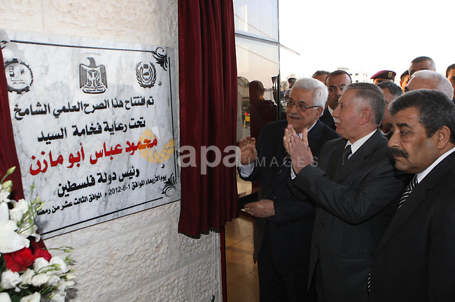 Palestinian President, Mahmoud Abbas (Abu Mazen), attends in the opening of the Faculty of Engineering at the Politktnk University  in the West Bank city of Hebron on, Aug. 01, 2012. Photo by Thaer Ganaim