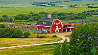 Red barn surrounded by emerald green hay fields with bales in Montana