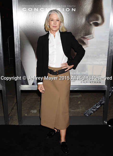 WESTWOOD, CA - NOVEMBER 23: Producer Elizabeth Cantillon attends the screening of Columbia Pictures' 'Concussion' at the Regency Village Theater on November 23, 2015 in Westwood, California.