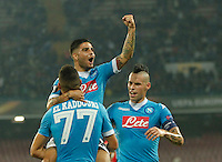 Napoli's Lorenzo Insigne and Napoli's Marek Hamsik  during the Europa  League Group D soccer match between SSC Napoli and Midtjylland at the San Paolo  Stadium in NaplesNovember 05, 2015