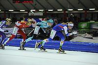SCHAATSEN: HEERENVEEN: 25-10-2014, IJsstadion Thialf, Marathonschaatsen, KPN Marathon Cup 2, Iris van der Stelt (#54), Maria Sterk (#41), Kelly Schouten (#37), ©foto Martin de Jong