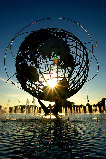 The Unisphere in Flushing Meadows at sunrise.