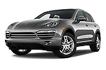 Stock pictures of low aggressive front three quarter view of a 2014 Porsche Cayenne Platinum Edition 5 Door SUV Low Aggressive
