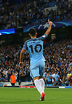 Sergio Aguero of Manchester City celebrates scoring his hat-rick goal during the UEFA Champions League Group C match at The Etihad Stadium, Manchester. Picture date: September 14th, 2016. Pic Simon Bellis/Sportimage
