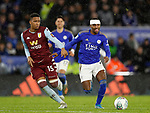 Ezri Konsa of Aston Villa tackles Ricardo Pereira of Leicester City during the Carabao Cup match at the King Power Stadium, Leicester. Picture date: 8th January 2020. Picture credit should read: Darren Staples/Sportimage