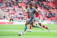 Lincoln City's Bruno Andrade vies for possession with Rotherham United's Michael Ihiekwe<br /> <br /> Photographer Chris Vaughan/CameraSport<br /> <br /> The EFL Sky Bet Championship - Rotherham United v Lincoln City - Saturday 10th August 2019 - New York Stadium - Rotherham<br /> <br /> World Copyright © 2019 CameraSport. All rights reserved. 43 Linden Ave. Countesthorpe. Leicester. England. LE8 5PG - Tel: +44 (0) 116 277 4147 - admin@camerasport.com - www.camerasport.com