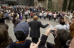 Barcelona-Spain - 17 April 2006---Sardana-dancing people in front of the cathedral---culture, people---Photo: © HorstWagner.eu