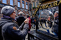 Edinburgh, UK. 15.04.2017. A woman takes a selfie in a distorting mirror, outside the Camera Obscura, on the Royal Mile. Photograph © Jane Hobson.