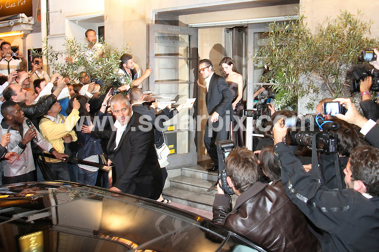**ALL ROUND PICTURES FROM SOLARPIX.COM**                                             **UK AND SPAIN SYNDICATION RIGHTS ONLY**                                                                                  Caption: Brad Pitt and Angelia Jolie leaving the restaurant l'affable during the 64th Cannes Film Festival, Cannes, France. 16 May 2011                                                                              This pic: Brad Pitt and Angelia Jolie                                                                                             JOB REF: 13353 CPR       DATE: 16_05_2011                                                           **MUST CREDIT SOLARPIX.COM OR DOUBLE FEE WILL BE CHARGED**                                                                      **MUST AGREE FEE BEFORE ONLINE USAGE**                               **CALL US ON: +34 952 811 768 or LOW RATE FROM UK 0844 617 7637**