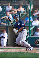 Pawtucket Red Sox right fielder Justin Maxwell (44) at bat during a game against the Rochester Red Wings on June 29, 2016 at Frontier Field in Rochester, New York.  Pawtucket defeated Rochester 3-2.  (Mike Janes/Four Seam Images)