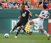 DC United defender Jordan Graye (16) makes a pass against Real Salt Lake defender Tony Beltran (2)  DC United and Real Salt Lake tied 0-0 at RFK Stadium, Wednesday  June 2  2010.