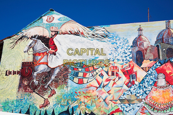 Colourful mural on wall of building, Santiago de Cuba, Cuba