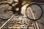 Cyclist over Tram Tracks, Ghent