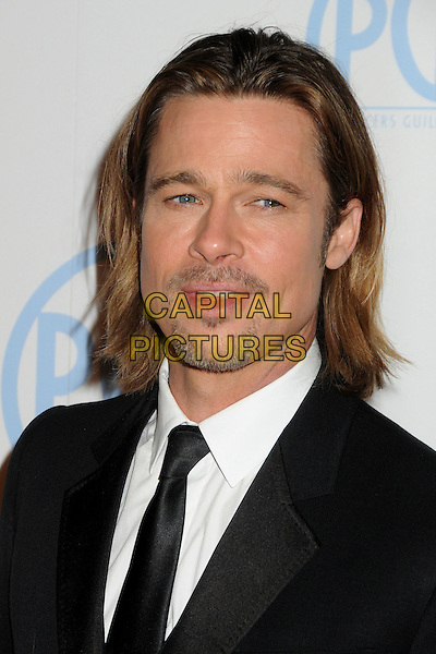 Brad Pitt .23rd Annual Producers Guild Awards held at the Beverly Hilton Hotel, - Beverly Hills, California, USA, .21st January 2012..portrait headshot black suit tie white shirt  beard facial hair .CAP/ADM/BP.©Byron Purvis/AdMedia/Capital Pictures.
