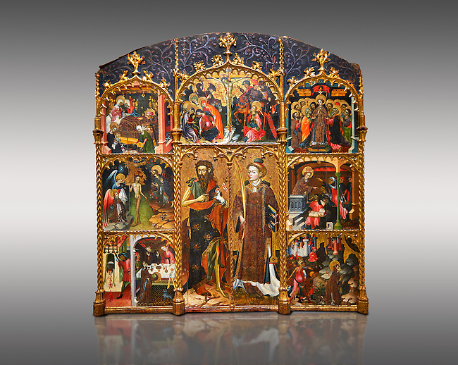 Gothic altarpiece of Saint Esteve (Stephen) & John the Baptist by Mestre de Bardalona, early 15th century, tempera and gold leaf on for wood from Santa Maria de Badalona.  National Museum of Catalan Art, Barcelona, Spain, inv no: MNAC   15824. Against a light grey background.